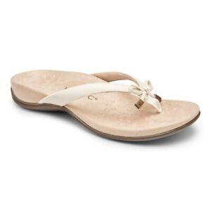 Vionic Womens Rest Bella II Thong Sandals Cream Woven Comfort Bow Slip Ons 9 New