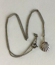 Clam Shell Pendant Womens Necklace Sterling Silver Necklace Petite