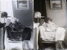 photo NEGATIF verre NU EROTIQUE  c.1900  / 13 x 17.5 cm / 14  / risque sexy nude