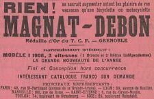 Y7598 Bicyclettes et Motocyclettes MAGNAT-DEBON - Pubblicità d'epoca - 1908 Ad
