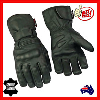 Mens Full Leather Warm Motorcycle Motorbike Gloves Cruiser Black Size Small