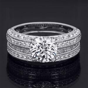 2 Carat Brilliant Round Cut Wedding Anniversary Band Engagement Ring Set Silver