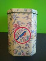 Vintage Meister Octagon Tea Cookie Canister Birds & Floral Design Made in Brazil