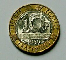 1989 FRANCE Bi-Metallic Coin - 10 Francs - AU+ lustre