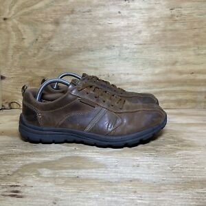 Skechers Men's Memory Foam Oxford Size 9.5 Brown Leather Casual Shoes 64224