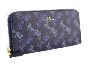 New Coach F87926 Horse & Carriage slim accordion zip wallet Dark Purple Lavender