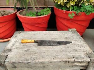 Collectible Old Hand Forged Bone & Brass Hilt Handle Steel Blade Dagger Khanjar