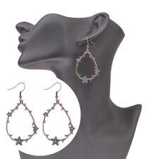 Vintage Women Bohemian Red Copper Hook Water Drop Hook Dangle Alloy Earrings
