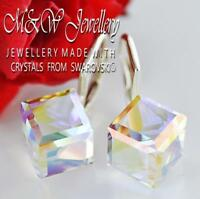 925 Sterling Silver Earrings CUBE 8mm CRYSTAL AB Crystals From Swarovski®