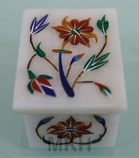 Marble Jewelry Box Inlay Pietra Dura Carnelian Handmade Gift Decor Trinket Boxes