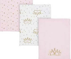 """GERBER INFANT GIRLS 3PK KNIT BURP CLOTHS, 12""""x17"""", PINK AND WHITE, NWT"""