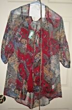 NWT MAURICE'S WOMENS TOP, SHELL & BELT, SIZE L, BLUES, BURGUNDY, GOLD & WHITE