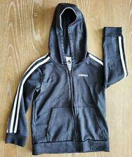 Adidas boys kids Size 5 Hoodie Jacket Dark Gray White stripes zip up