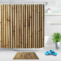 Wood Bamboo Background Waterproof Fabric Shower Curtain Bathroom Set & Hooks
