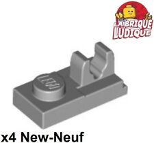 Lego - 4x Plate Modified 1x2 Clip on Top gris clair/light bluish gray 92280 NEUF