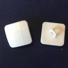 10 x 17mm square white faceted shank buttons