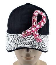 Womens Rhinestone Ribbon Breast Cancer Awareness Baseball Cap Bling Tennis Hats