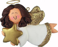 Angel with Star Female Brown Personalized Christmas Tree Ornament