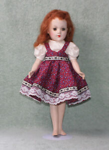 "VINTAGE 1960s MARY HOYER HARD PLASTIC REDHEAD GREEN SLEEPY EYES 14"" GIRL DOLL"