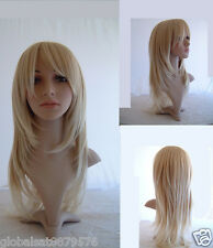A6  Beauty Long Straight Layered Blonde Salon Wigs Hair Perücke A22