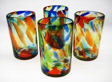 Mexican hand blown glasses, confetti swirl multi colors, set of 4,16 oz