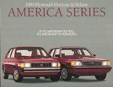 1989 Plymouth RELIANT & HORIZON Brochure:AMERICA,K,