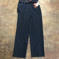 JM Collection Pants Size 8 Navy Blue Washable Stretch w Belt NWT
