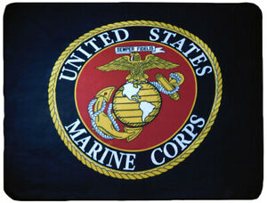 USMC United States Marine Corps Emblem Black 50x60 Polar Fleece Blanket Throw