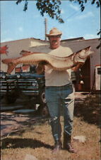 Stow NY Hogan's Hut General Store Man w/ Giant Fish Catch Postcard