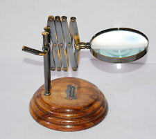 """Antique vintage  brass chainer 4"""" magnifying glass magnifier with wooden base"""