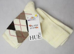 Hue Women's 2 Pack Argyle Boot Socks Ivory One Size