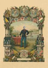 Scavalcato K & K 32 monarchia imperatore Francesco Giuseppe militare fac simili su carta cartoni