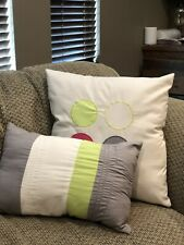 2 Decorative Throw Pillows Square Rectangle Girls Bedroom Hot Pink Grey Green