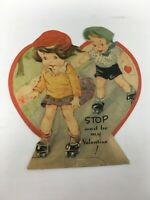 Vintage Valentine Card Boy Girl Roller Skates Skating