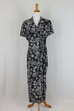 Vintage Adrianna Papell 1940's Style Silk Short Sleeve Full Length Wrap Dress 8
