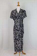 New listing Vintage Adrianna Papell 1940's Style Silk Short Sleeve Full Length Wrap Dress 8