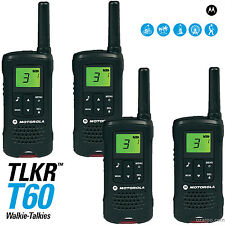 Motorola Talker TLKR T60 2 Way Walkie Talkie 8km PMR 446 Radio - 4 Pack (Black)