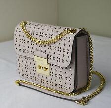 Michael Kors Soft Pink Perforated Sloan Editor Medium Chain Shoulder Bag