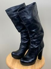 VINCE CAMUTO KNEE HIGH BOOTS SIZE 7.5 BLACK LEATHER PLATFORM BOOTS
