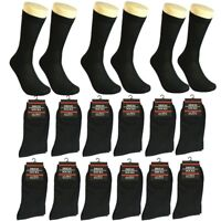 12 Pairs Men Plain Black Cotton Casual Mid Calf Dress Socks Size 10-13