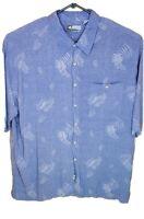 Corsini Mens Blue Button Up Short Sleeve Palm Trees Hawaiian Vacation Shirt XXL