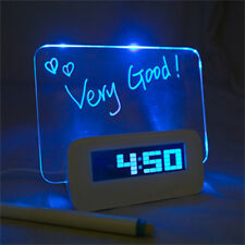 Blue LED Fluorescent Message Board Desk LCD Digital Alarm Clock USB 4 Port Hub