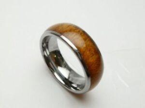 Neu Hawaii Schmuck Herren Koa Holz Ehering 8mm Ringgröße 5-14 #37101-2