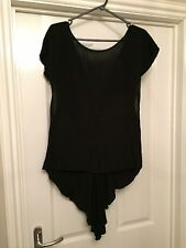 Topshop Black Hi Lo Top With Sheer Inserts, Low Back. Size 8. Ex Condition.