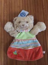 Doudou plat marionnette ours orange vert rayé NOUKIES NOUKIE'S NEUF