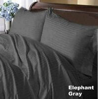 1000TC Egyptian Cotton UK Size Sheet Set/Duvet/Fitted Sheet Elephant Grey Stripe