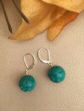 Green Turquoise Sterling Silver Drop Earrings Lever Backs 14mm Beads