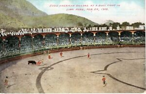 1909 LIMA PERU - 5000 American Sailors at a Bull Fight in color