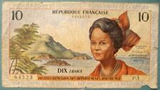 FRENCH ANTILLES 10 FRANCS NOTE FROM 1964, P 8 a  MARTINIQUE, GUADELOUPE