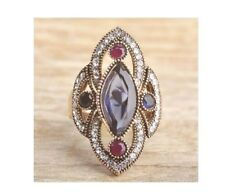 New Turkish Vintage Ring Size: 6 Dark Purple Stone Rhinestones Gold Filled